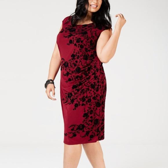 Jessica Howard Plus Size Velvet-Flocked Dress
